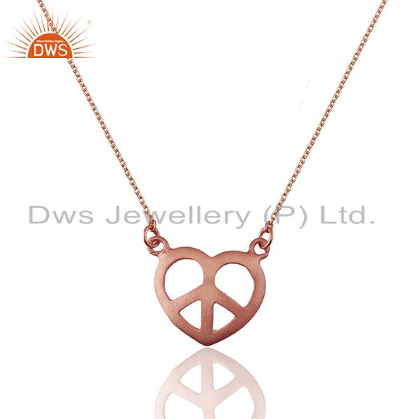 Rose Gold Plated 925 Silver Peace Charm Chain Pendant Manufacturer