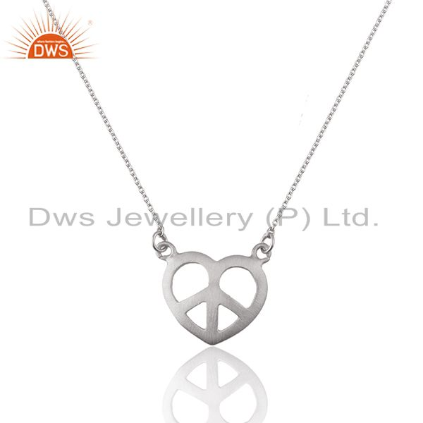 White Sterling Plain Silver Peace Charm Chain Pendant Manufacturers