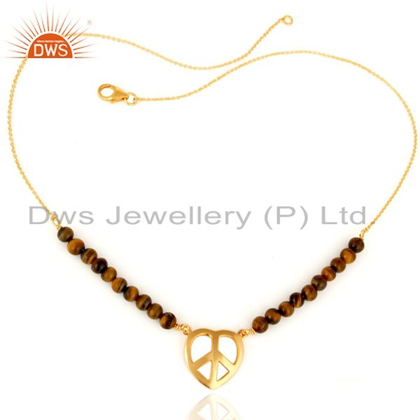 Gold Plated Sterling Silver Peace Sign Charm Natural Tiger Eye Beads Bracelet