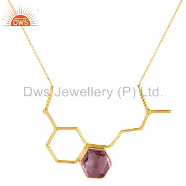 925 Sterling Silver Designer Amethyst Gemstone Necklace Jewelry - Gold Plated