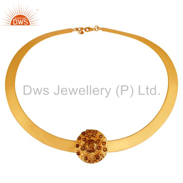 18K Gold Plated Sterling Silver Citrine Gemstone Ladies Necklace