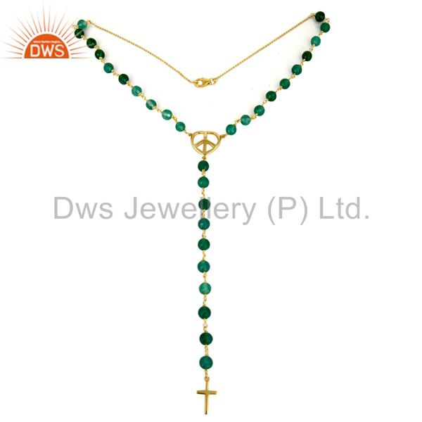 18K Gold Plated Sterling Silver Green Onyx Beaded Peace & Cross Charms Necklace