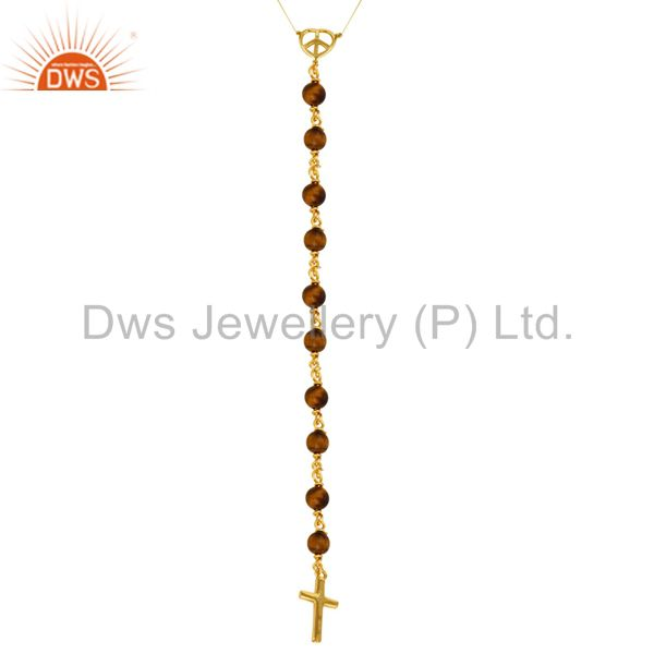 18K Gold Plated Sterling Silver Tiger Eye Beaded Peace And Cross Charms Necklace