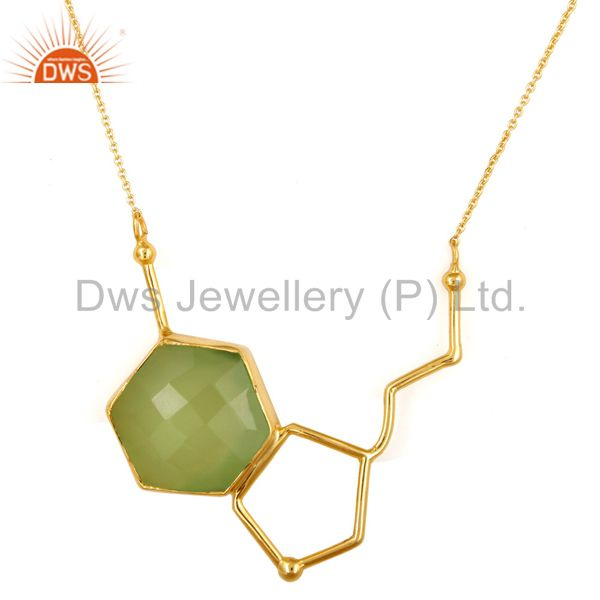 Dyed Prehnite Chalcedony Sterling Silver Necklace With Yellow Gold Plated
