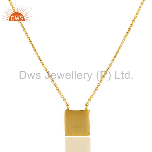 18K Gold PLated Sterling Silver Square Flate Pendant Necklace Simple Sobber