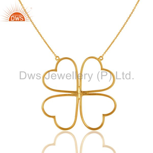 14K Yellow Gold Plated Sterling Silver Heart Designer Chain Necklace