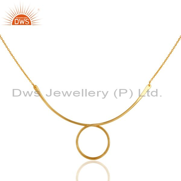 14K Yellow Gold Plated Sterling Silver Circle Designer Chain Necklace