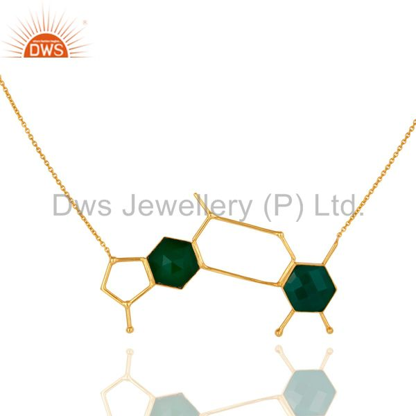 14K Yellow Gold Plated Sterling Silver Green Onyx Designer Chain Necklace