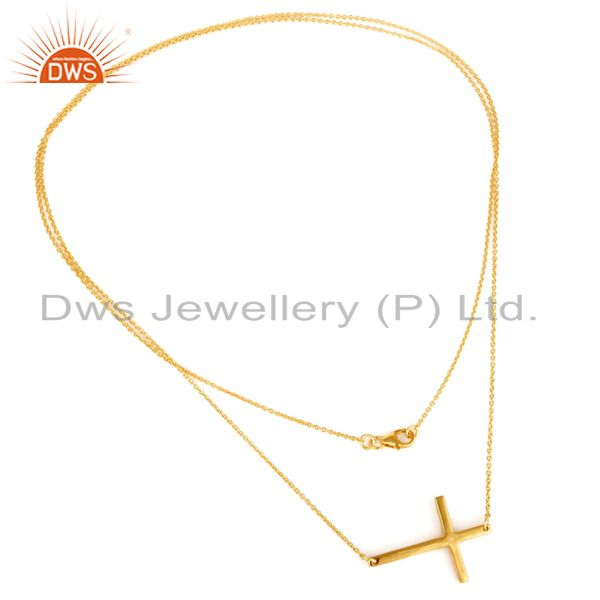 14k yellow gold plated sterling silver cross designer chain necklace