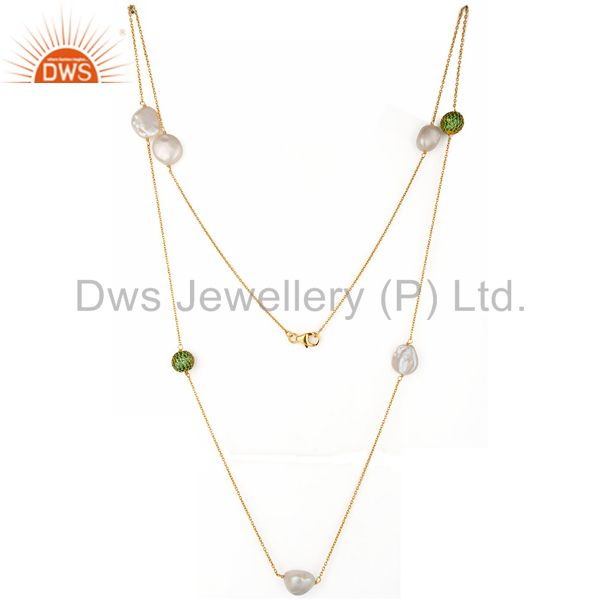 18K Yellow Gold Plated Sterling Silver Green Cubic Zirconia And Pearl Necklace
