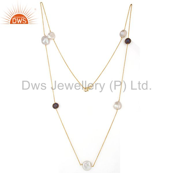 18k yellow gold plated sterling silver blue cubic zirconia and pearl necklace
