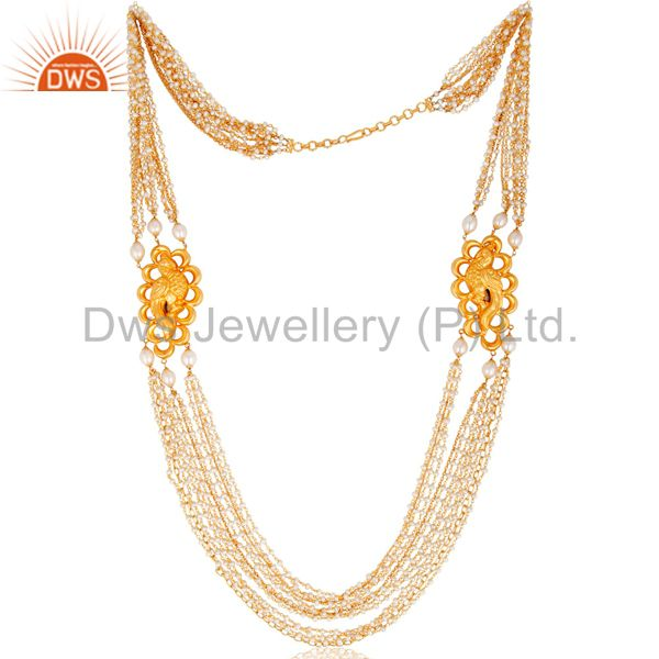"""18K Yellow Gold Plated 925 Sterling Silver Three Line 38"""" Chain Necklace"""