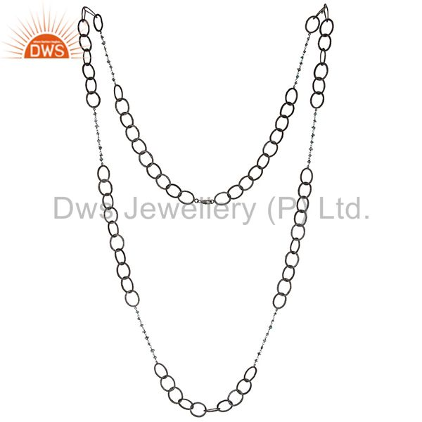 "Black Oxidized Handmade Blue Diamond 48"" Link Chain Necklace Jewellery"