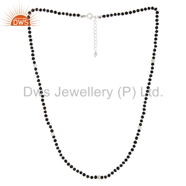 Handmade Solid 925 Sterling Silver Faceted Black Onyx Beads Chain Necklace