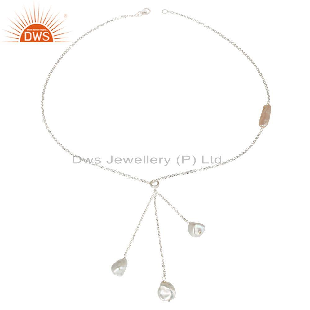 Beautiful Handmade Fresh Water Pearl Drops Chain Necklace Made In 925 Silver