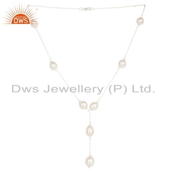 Beautiful Handmade 925 Sterling Silver Round Pearl Beads Chain Necklace Jewelry