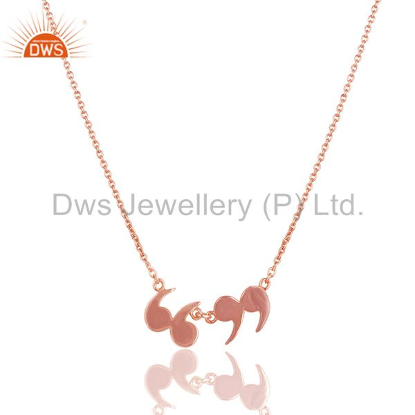 14k rose gold plated 925 silver handmade art fashion chain pendant necklace
