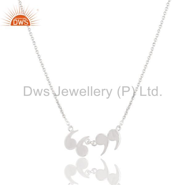 Solid 925 sterling silver handmade art fashion chain pendant necklace jewelry