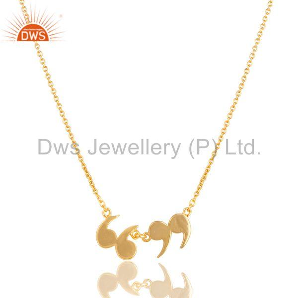 14k gold plated 925 sterling silver handmade art fashion chain pendant necklace