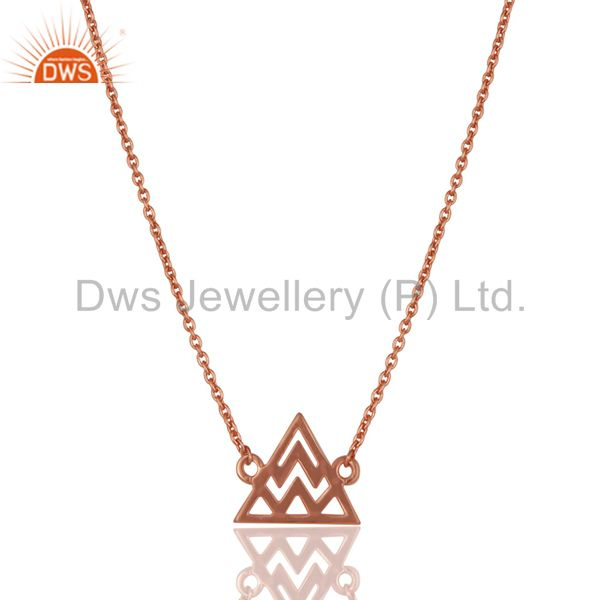 14k rose gold plated sterling silver handmade art trillion style chain necklace