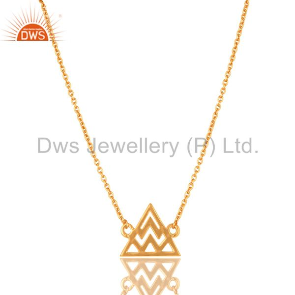 14K Gold Plated 925 Sterling Silver Handmade Art Trillion Style Chain Necklace