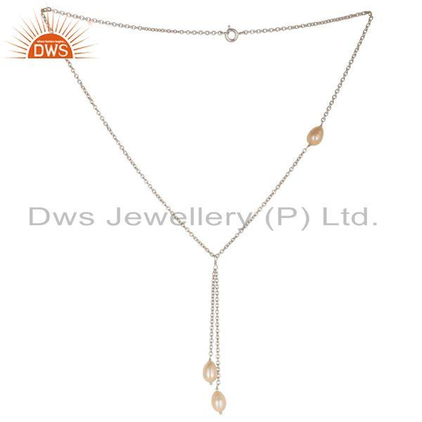 Handmade 925 Sterling Silver Pink Pearl Beads 16 Inch Drops Chain Necklace