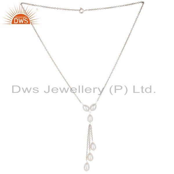 16 Inch Beautiful Pearl Beads Drops Chain Necklace Made In 925 Sterling Silver