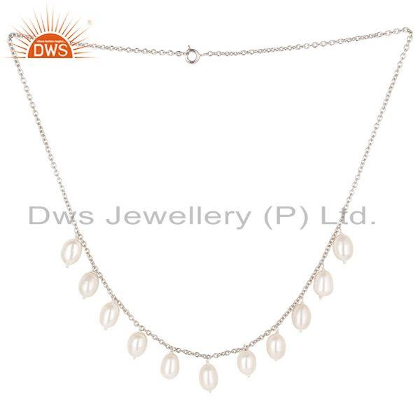 Beautiful 925 Sterling Silver Handmade Plain Beads Pearl Chain Necklace Jewelry