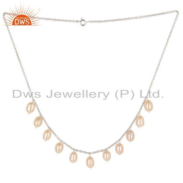 Beautiful 925 Sterling Silver Handmade Beads Pink Pearl Chain Necklace Jewelry