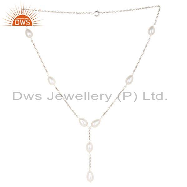 Beautiful Handmade 925 Sterling Silver Pearl Beads 16 Inch Drops Chain Necklace