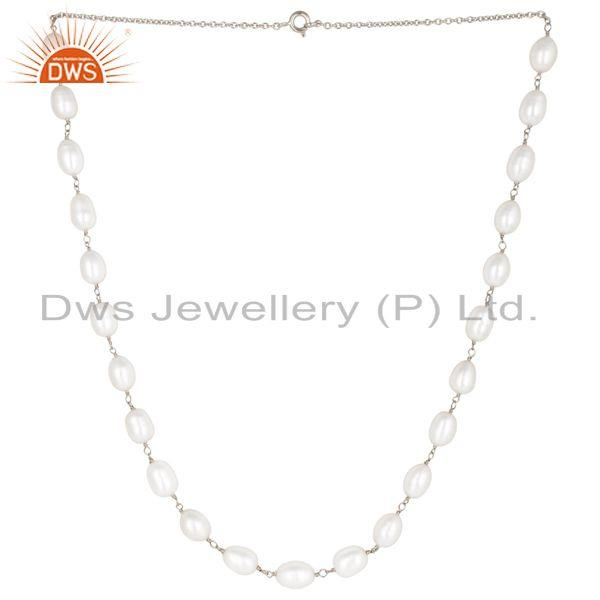 Handmade 925 sterling silver pearl beads 16 inch chain necklace jewelry