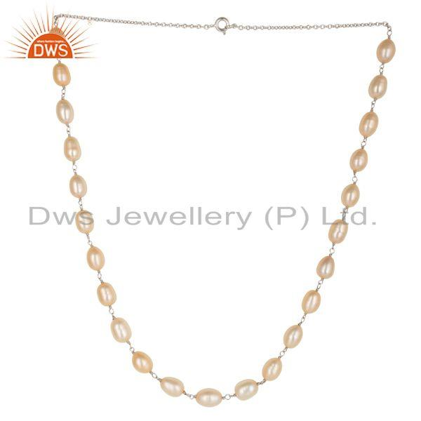 Beautiful Handmade 925 Sterling Silver Beads Pink Pearl Chain Necklace Jewelry