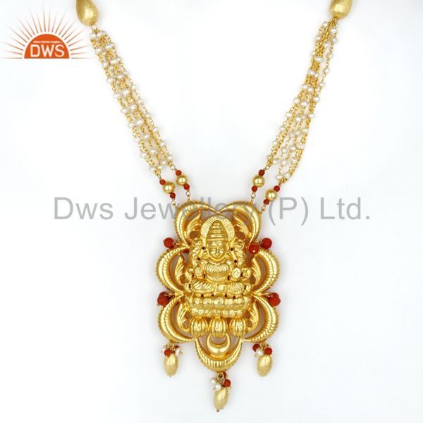 18K Yellow Gold Plated 925 Sterling Silver Handmade Hindu God Temple Jewelry