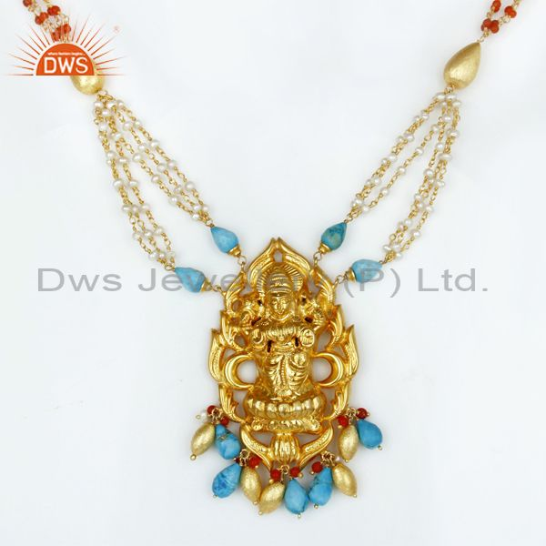 18K Gold Plated 925 Sterling Silver Hindu Gold 32 Inch Temple Jewelry Necklace