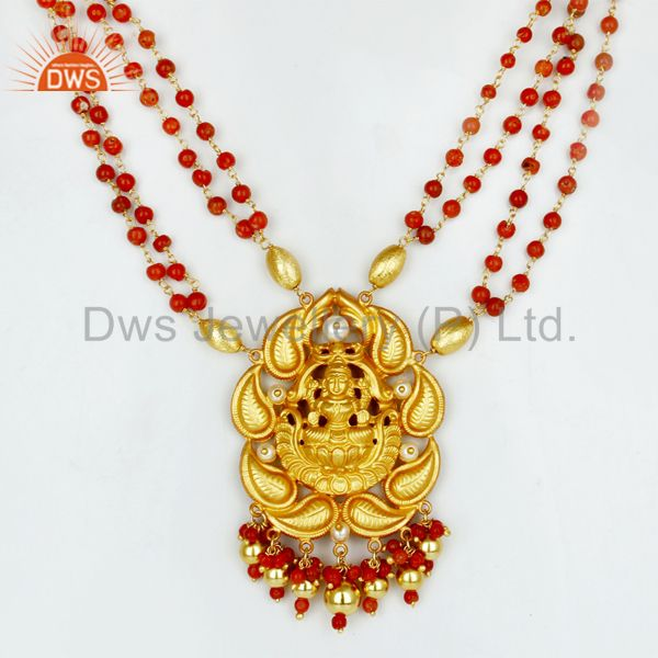 18K Gold Plated 925 Sterling Silver Pearl Beads Temple Jewelry Necklace