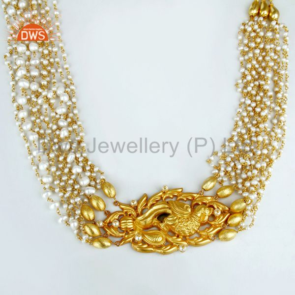 14k gold plated 925 silver handmade pearl beads 35 inch temple jewelry necklace