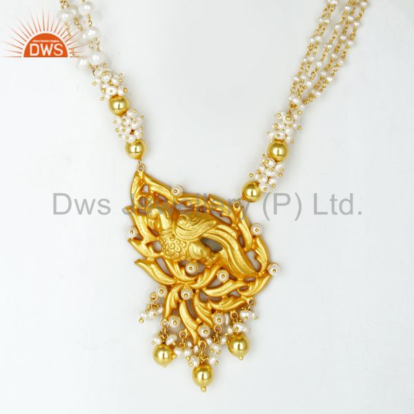 14K Gold Plated 925 Silver Handmade Peacock Design Pearl Beads 32 Inch Necklace