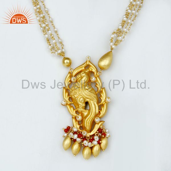 14k gold plated 925 silver handmade peacock design pearl necklace jewelry