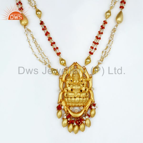 18K Gold Plated 925 Sterling Silver Handmade Pear Bead Temple Necklace Jewelry