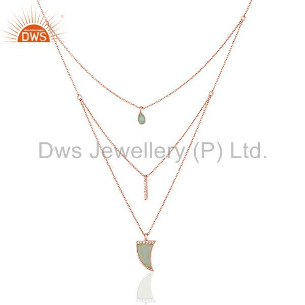 Horn Design 925 Silver Aqua Gemstone Three Layer Chain Pendant