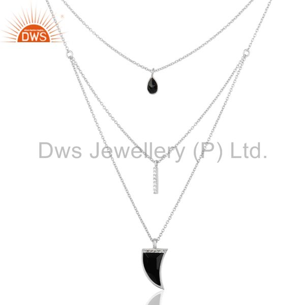 Black Onyx Triple Layer Unisex Cz 92.5 Sterling Silver Wholesale Pendent