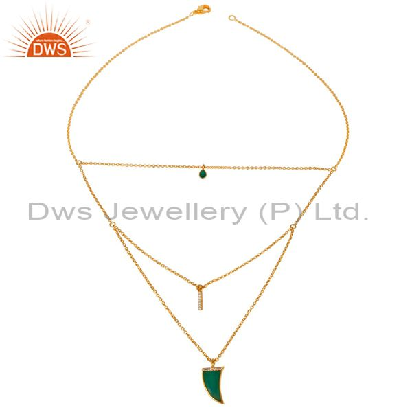 Green onyx triple layer unisex cz gold plated sterling silver pendent