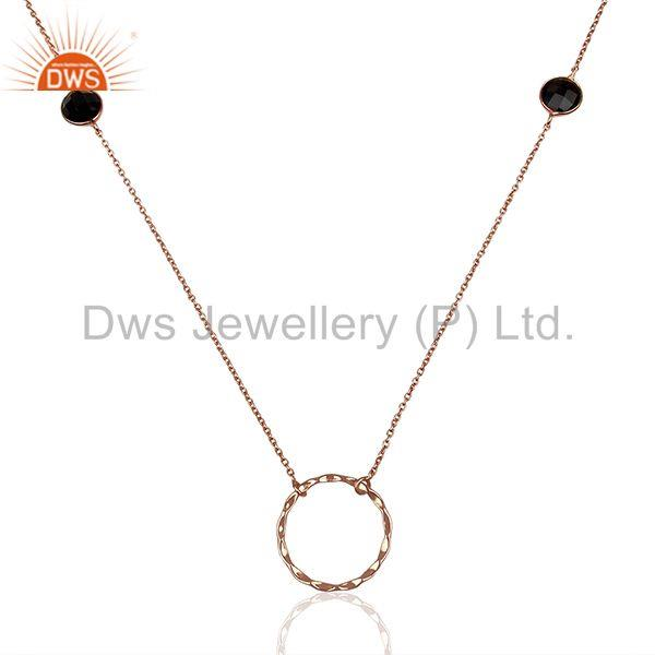 Rose Gold Plated 925 Silver Smoky Quartz Gemstone Necklace Jewelry