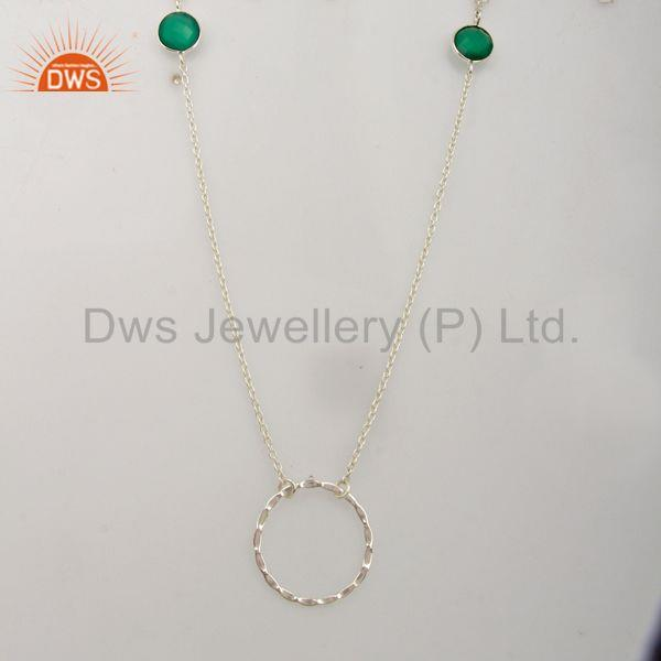 925 Sterling Silver Green Onyx Gemstone Womens Necklace Supplier