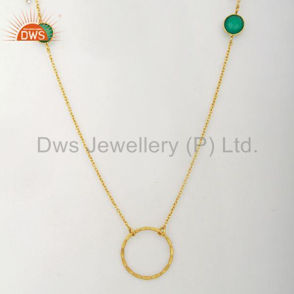 Green Onyx Gemstone Silver Gold Plated Chain Neckalce Manufacturer