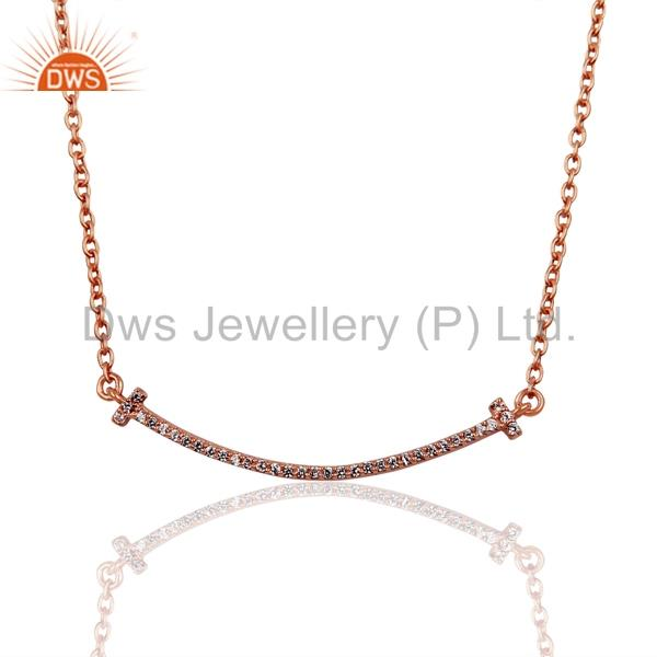 Cz Double Cross Curved Bar 925 Sterling Silver Rose Gold Plated Necklace