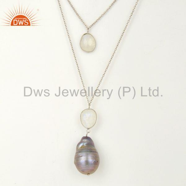 New Arrival Pearl Gemstone Sterling Silver Chain Necklace Wholesale