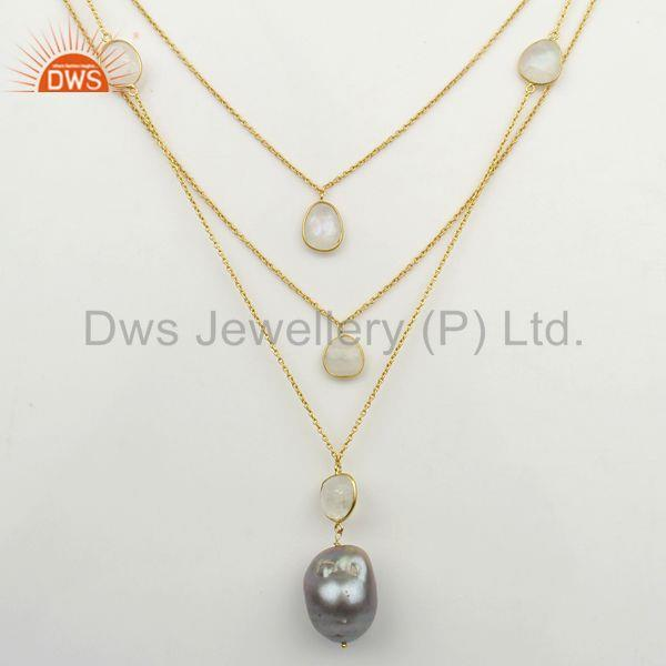 Freshwater Pearl Gemstone Gold Plated Silver Chain Necklace Supplier