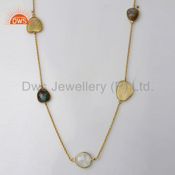 Labradorite Gemstone Gold Plated 925 Silver Fashion Necklace Jewelry