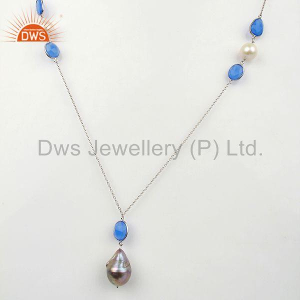 Indian Freshwater Paerl Gemstone Sterling Silver Necklace Manufacturer
